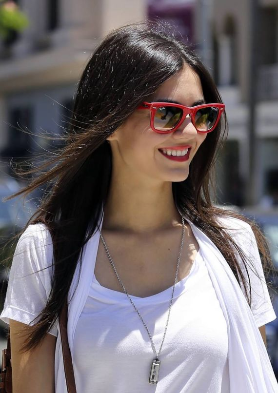Smiling Victoria Justice In Beverly Hills